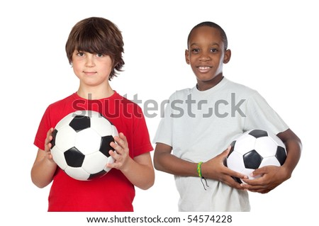 Two adorable children with balls on a over white background - stock photo
