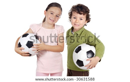 Two adorable children with soccer balls on a over white background - stock photo