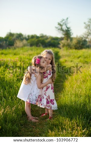 Two adorable girls  playing on the meadow - stock photo