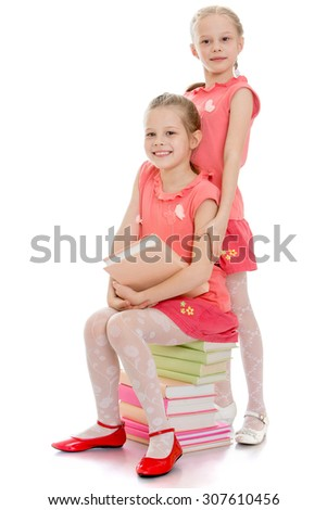 Two adorable sisters are sitting on the books. The girls are dressed in pink t-shirts with short sleeve and short pink skirt-Isolated on white background - stock photo