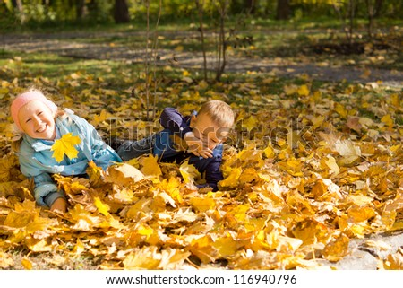 Two adorable young children having fun and games playing with autumn leaves carpeting the ground in an outdoor park - stock photo