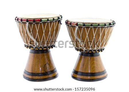 two African drums isolated on white - stock photo