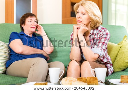 Two aged girlfriends drinking tea and discussing problems - stock photo