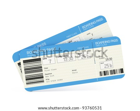 Two airline boarding pass tickets isolated on white - stock photo