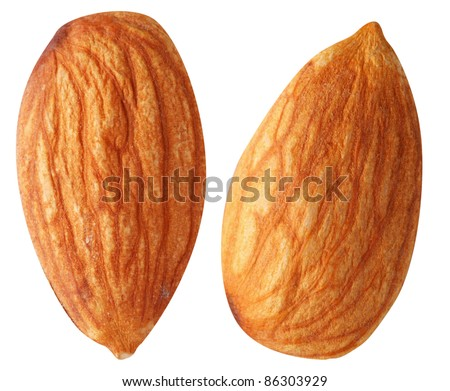 Two almonds isolated on a white background. File contains a path to cut. - stock photo