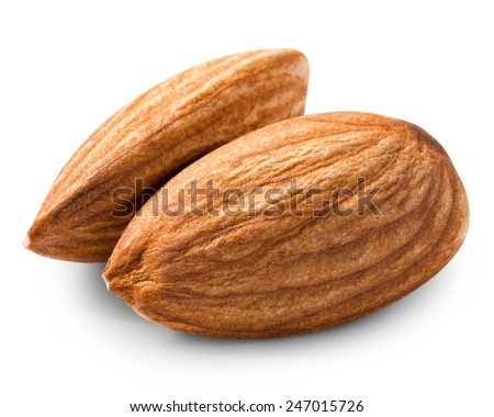 Two almonds nuts isolated on white background - stock photo