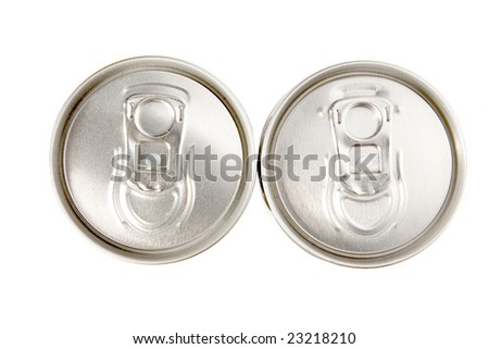 Two aluminum cans on white ground
