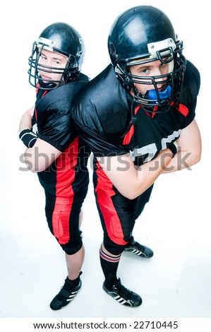 Two American football players, high angle of view - stock photo