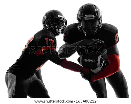 two american football players passing play action in silhouette shadow on white background - stock photo