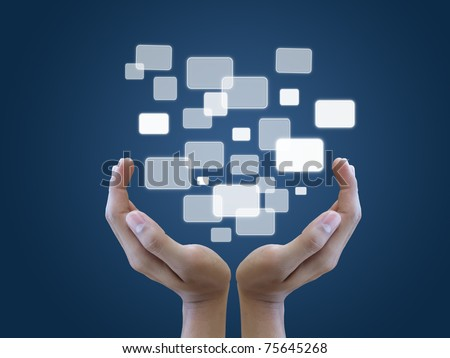 Two and holding touch screen interface - stock photo