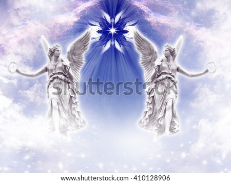 two angels archangels with a divine star - stock photo
