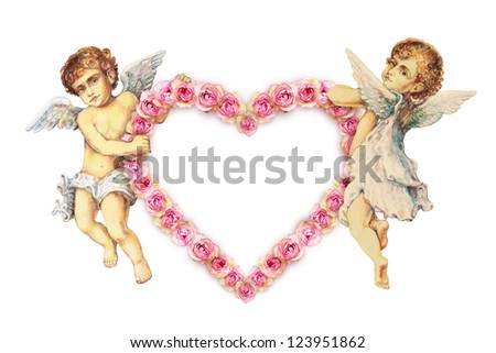 Two angels carrying a roses heart - stock photo
