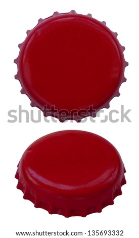 Two angles of a red colored metal cap, used for glass soda bottles. Isolated on white background. - stock photo