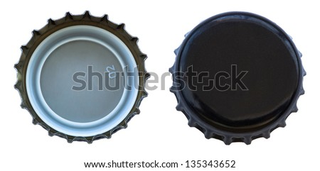 Two angles of black colored metal cap, used for glass soda bottles. Isolated on white background. - stock photo