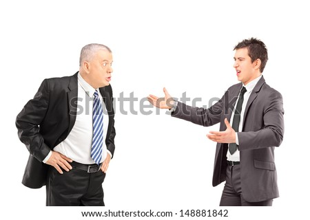 Two angry business colleagues during an argument, isolated on white background - stock photo