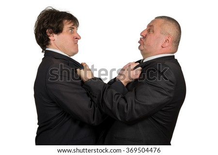Two angry business colleagues during an argument, isolated on white background.