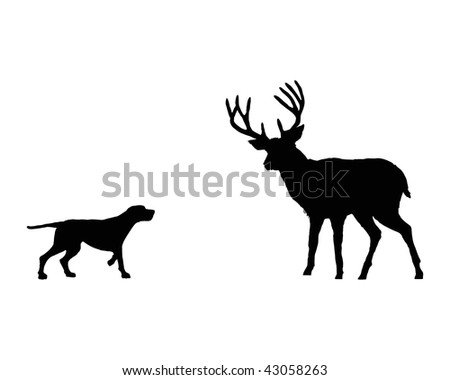Two Deer Love Silhouettes Stock Vector 107022131
