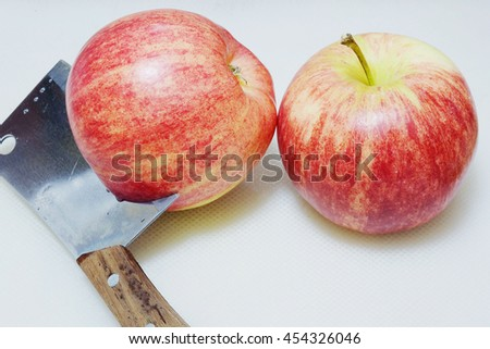 Two apples, organic apple, red fruit, apple slices