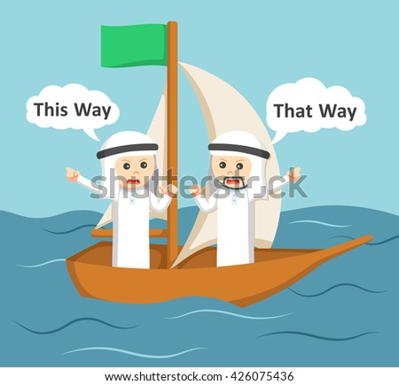 two arab businessman arguing on a boat - stock photo