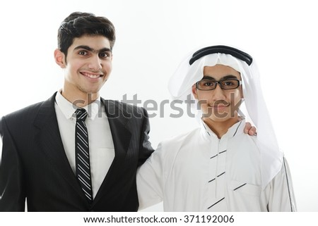 Two Arabic kids meeting - stock photo