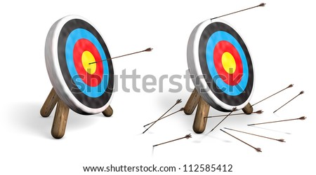 Two archery targets on white; one with bulls eyes and another with all arrows missing the target - stock photo