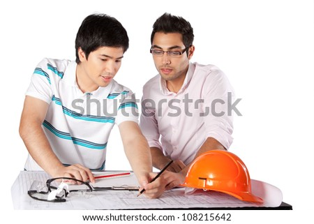 Two architects discussing on blueprints isolated on white background. - stock photo