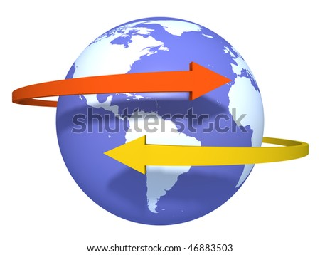 Two arrows around the world - stock photo