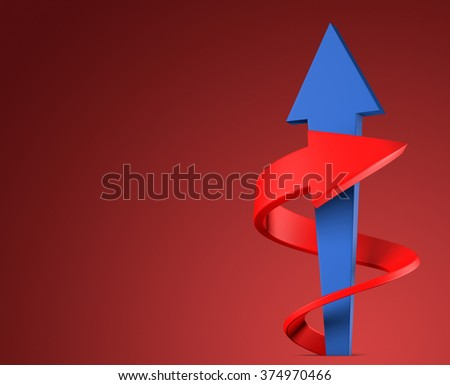 Two arrows on red background - stock photo