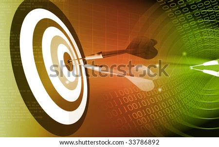 Two arrows pined in the bull eye of target
