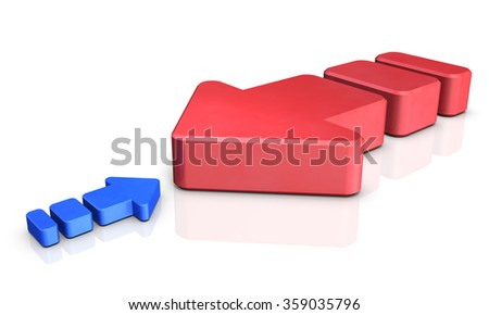 Two arrows sizes are significantly different. It is representing the imbalance and injustice. - stock photo