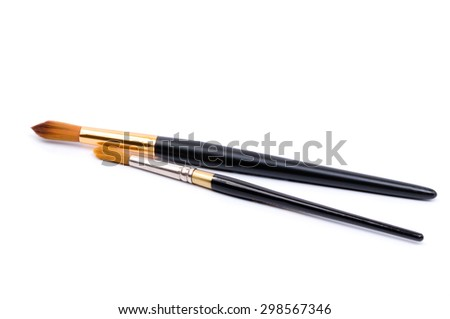 two artistic brushes on a white background