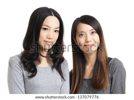 Two asian woman friend smile - stock photo