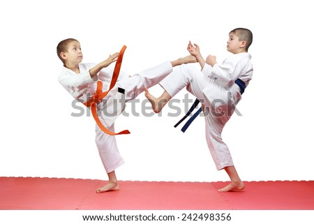 Two athletes are beating kicks on the mats