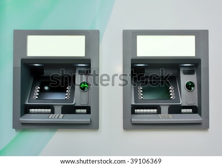 Two ATM - Automated Teller Machines. Useful file for your article, flyer, brochure and website about financial transaction, banking technology and other needs. - stock photo