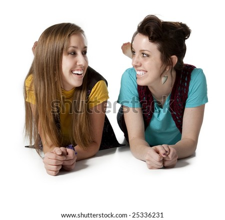 Two attractive friends laughing. - stock photo