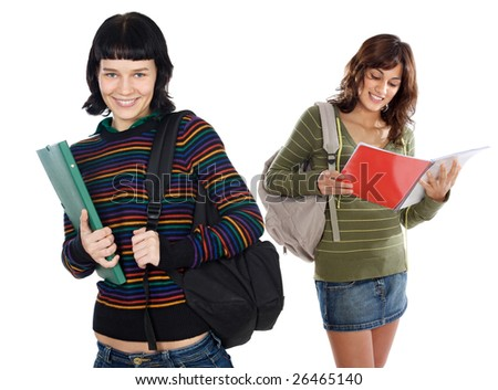 Two attractive students a over white background
