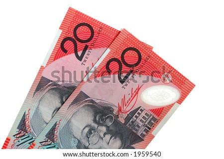 Two Australian $20 notes, isolated on white - stock photo
