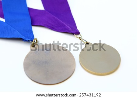 two award medals isolated on white background - stock photo