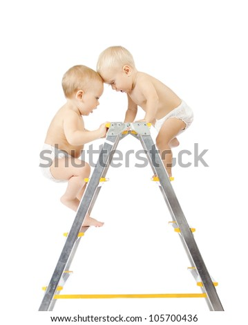 Two babies climbing on stepladder and fighting for first place over white background. Competition concept. Isolated over white - stock photo