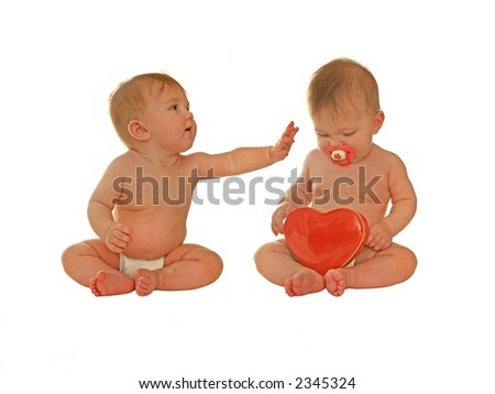 two babies on a valentine's date. can easily be used separately too - stock photo