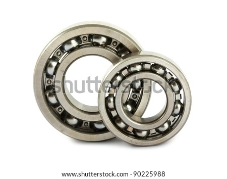 Two ball bearings isolated on white background