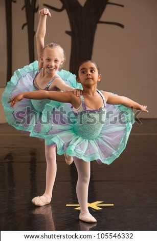 Two ballet students in fancy dresses posing together - stock photo