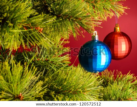 two balls on christmas tree - stock photo