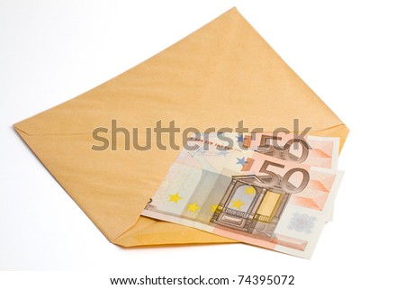 Two banknotes of fifty euro inside an envelope - stock photo
