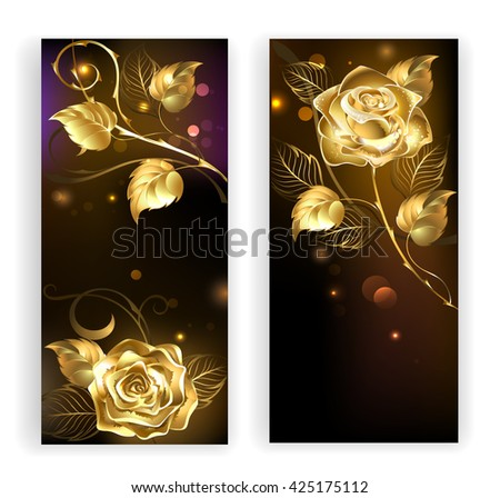 two banners with gold, entwined roses on a black background. Design with roses. Gold rose.   - stock photo