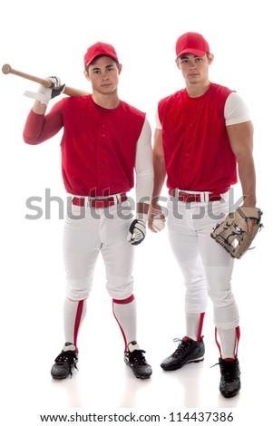 Two baseball teammates. Studio shot over white. - stock photo