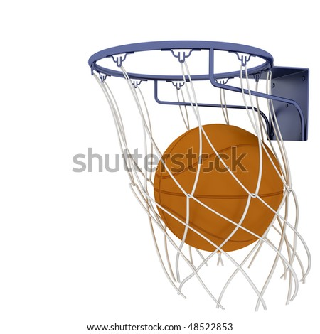 Two basketball items isolated on white background - stock photo