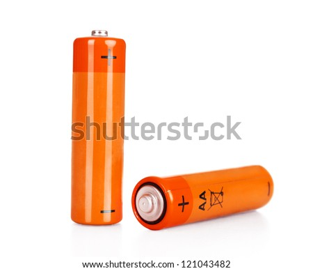 Two batteries AA on a white background it is isolated - stock photo