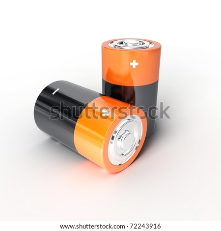 Two batteries on a white background - stock photo