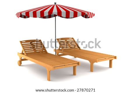 two beach chairs and umbrella isolated on white background with clipping path